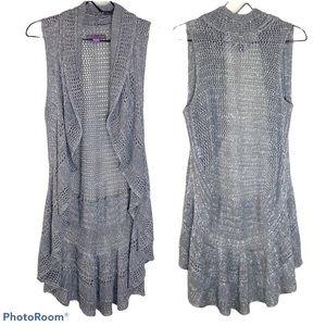Beverly Drive Wmn 1X Vest Knit Metallic Gray EUC